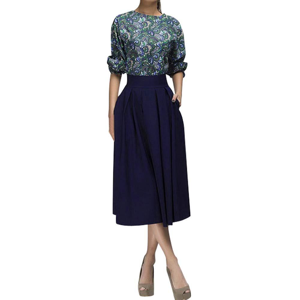 Sannysis Damen Maxikleid Langes Elegantes Kleid Büro Knielang Vintage Floral Print Kleider Cocktailkleid Midikleid