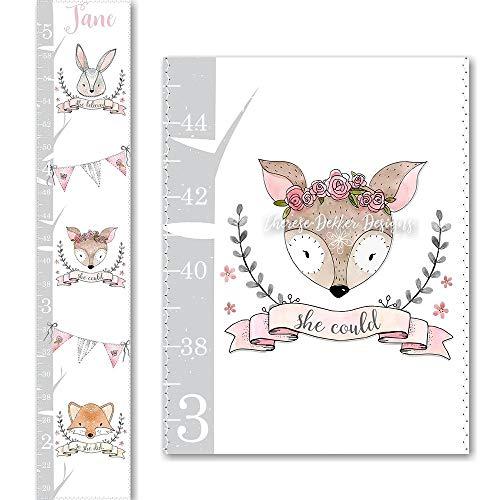 Bunny Chart Height - Woodland Growth Chart, Canvas Growth Chart, Fox Growth Chart, Bunny Growth Chart, Deer Growth Chart, Girls Growth Chart, Pink Grey Chart