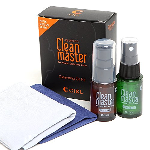 CIELmusic String Instrument Cleaning Kit, Clean Master (Cleansing Oil + Glossy Oil + 2 Soft-cloths) 1 Set, Violin Viola Cello Care Package