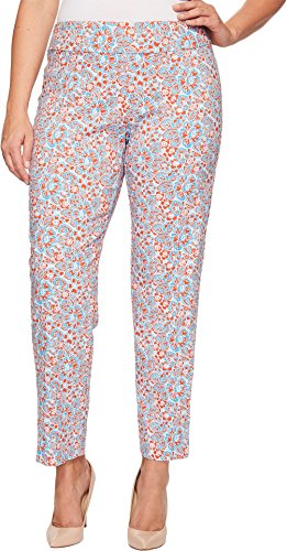 Krazy Larry Women's Plus Size Pull-On Ankle Pants Turquoise Flower Print Pants