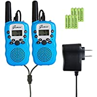 Rechargeable Walkie-Talkies - GEMEE 1 Pair UHF462-467MHz 22 Channel FRS/GMRS Two-Way Raidos Walkie Talkies with Rechargable Batterry and Charger - 2 Pcs ( Blue )