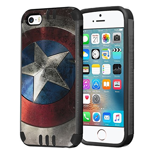 iPhone SE Case, Capsule-Case Hybrid Dual Layer Slim Defender Armor Combat Case (Dark Grey & Black) Brush Texture Finishing for iPhone SE/iPhone 5s / iPhone 5 - (Rock Star)