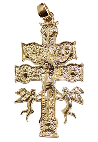 Diamantados of Florida Cruz De Caravaca Cross 18k Gold Plated Pendant with 24 Inch Chain (De Cruz Caravaca)