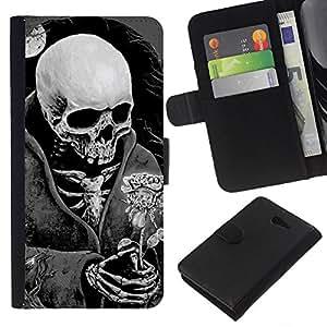 EJOY---La carpeta del tirón la caja de cuero de alta calidad de la PU Caso protector / Sony Xperia M2 / --Muerte Cráneo Negro Blanco Luna Rose