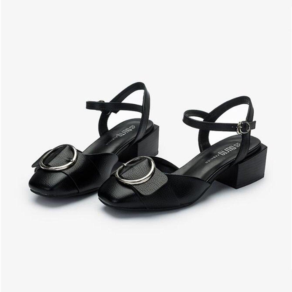 Frühling Koreanische Version mit mit mit Dicken mit Einem Student Schnalle Einzelne Schuhe Weiblich (Farbe   Schwarz, Größe   37) 3ae4b6
