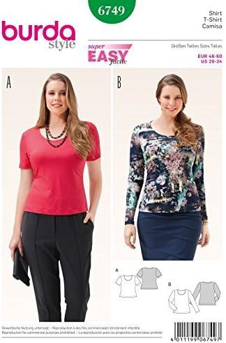 Burda para mujer Plus talla patrones de costura para camiseta ...