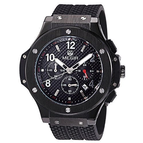 f94a0d90dc4 Megir Mens Watches Silicone Chronograph Military Quartz Black Wrist Watch  Luminous Relogio Masculino