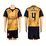 2015/16 Gunners #4 Vieira UCL Cup Away Kids Youth Soccer Jersey Kit Set