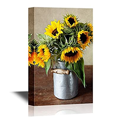 Canvas Wall Art - Still Life Illustration with Sunflowers in Oil Painting Style - Gallery Wrap Modern Home Art | Ready to Hang - 12x18 inches