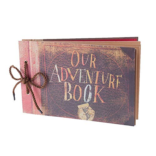 Our Adventure Book Pixar Up Handmade DIY Scrapbook Photo Album 80 Pages, Retro Album, Anniversary and Wedding Memory Book, Suitable for Lover, Friends and Kids(40 Sheets)