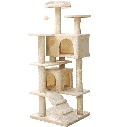 Árbol para Gato con Rascador Gatos, Juguetes para Gatos de Plataformas Bolas de Juego Sisal Natural,Beige 136cm