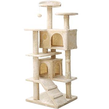 Árbol para Gato con Rascador Gatos, Juguetes para Gatos de Plataformas Bolas de Juego Sisal Natural,Beige 136cm: Amazon.es: Productos para mascotas