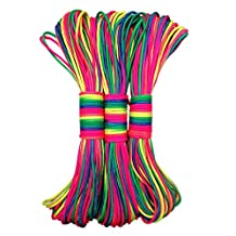 Qianle 101ft Rainbow Color Paracord Rope 7 strand Parachute Cord Camping Hiking