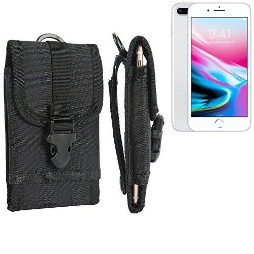 Gürteltasche / Holster für Apple iPhone 8 Plus, schwarz | extrem robuste Handyhülle Smarpthone Schutz Tasche Hülle outdoor / camping case - K-S-Trade(TM) (Wir zahlen Steuern in Deutschland!)