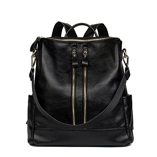 Pink Casual Women Leather Backpacks Black Functional Satchel Multi Purse Bag HMILY Shoulder x67PFqR