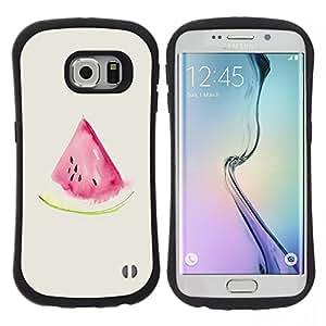 """Hypernova Slim Fit Dual Barniz Protector Caso Case Funda Para Samsung Galaxy S6 EDGE [Acuarela de la sandía Beige Rosa Frutas""""]"""