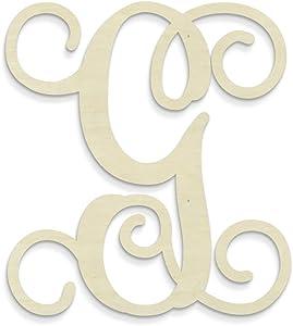 UNFINISHEDWOODCO Single Vine Unfinished Monogram G Decorative Letter, 13-Inch