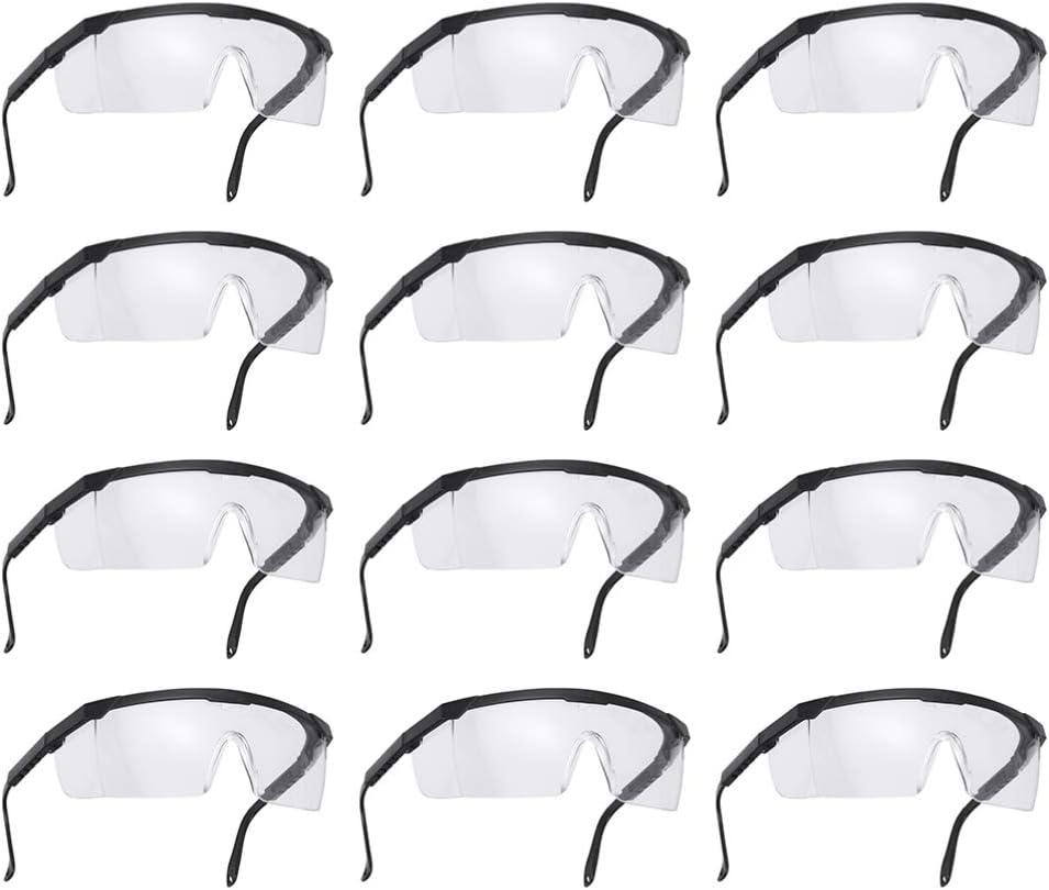TENDYCOCO 12Pcs Gafas de Seguridad Gafas de Seguridad Envolventes Transparentes Gafas de Trabajo Protectoras para Los Ojos Gafas para Montar Al Aire Libre