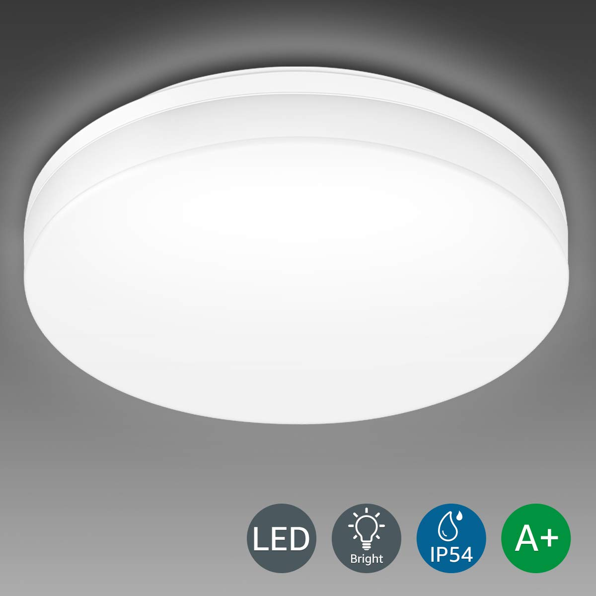 Le 24w led ceiling light 33cm waterproof ip54 2400lm 5000k daylight white 120 beam angle double 100w incandescent lamps replacement flush mount