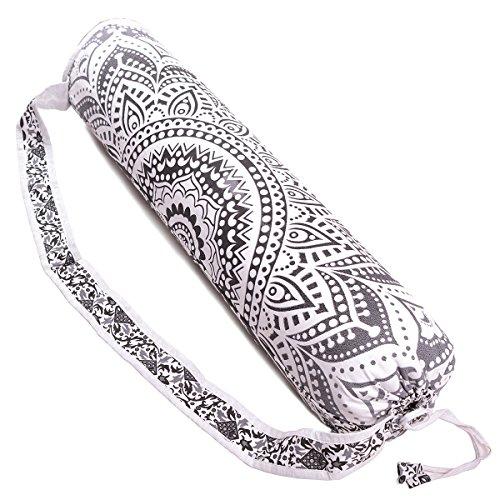 Handmade Mandala Cotton Yoga Mat Bag with Shoulder Strap (Black Ombre)