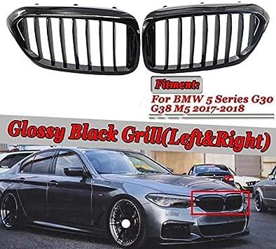 1 par frontal del ri/ñ/ón parrilla en forma for el BMW Serie 5 G30 G38 2018-2019 Grille Negro brillante del parachoques delantero del list/ón Grill Color : Black