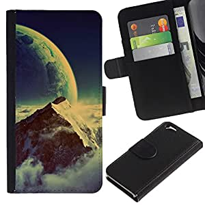 Protector de cuero de la PU de la cubierta del estilo de la carpeta del tirón BY RAYDREAMMM - Apple Iphone 6 - Space Mountain