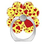 360°Rotation Grip Mobile Phone Finger Ring Holder for All Smartphone and Tablets with Car Mount Stand Yellow Funny Heart