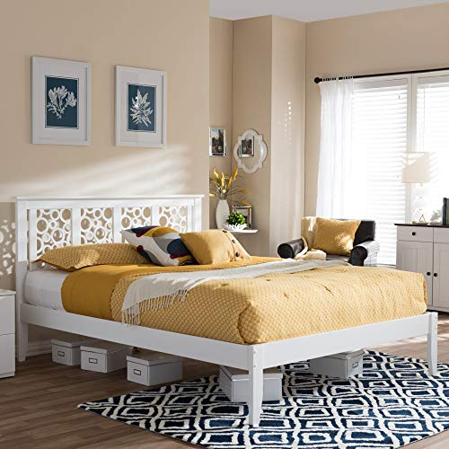 (Baxton Studio Celine Modern and Contemporary Geometric Pattern White Solid Wood Platform Bed Queen)