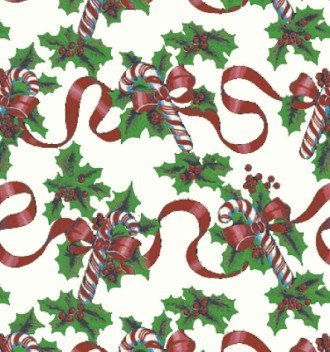 """Red Ribbons & Canes Gift Wrap Flat Sheet 24"""" X 6' - Holiday Gift Wrapping Paper"""