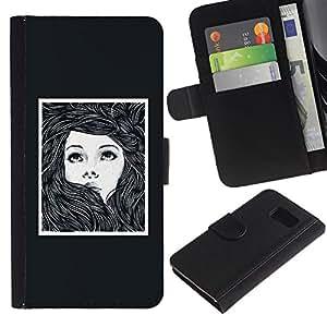 Stuss Case / Funda Carcasa PU de Cuero - Marco Chica Mujer Cartel Dibujo - Samsung Galaxy S6