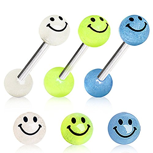 Yellow Tongue Ring (Glow in the Dark Smiley Face Surgical Steel Barbell Balls 14g 5/8 (Yellow))