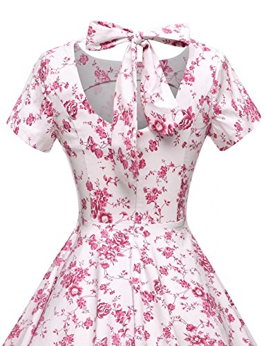 Floral Retro Rockabillty Dress Womens Swing 1950s GownTown Party Red Vintage Dress Stretchy 0PHFxtw