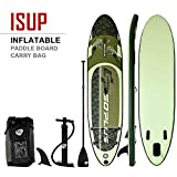 Goplus Inflatable Stand up Paddle Board iSUP Cruiser 6' Thickness iSUP Package w/3 Fins Thuster, Adjustable Paddle, Pump Kit and Carry Backpack (Tiger, 11 FT)