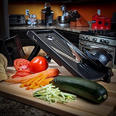 The Original Mandoline V-Slicer - Professional Chef Slicer + Bonus Recipes - Vegetable Slicer, Food Slicer, Cheese Slicer, Vegetable Cutter, Julienne Chopper - Stainless Steel Sharp Blade
