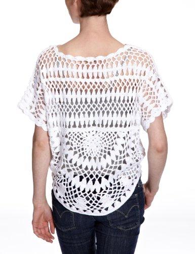 Lerros - Cárdigan con cuello redondo de manga corta para mujer Blanco 100