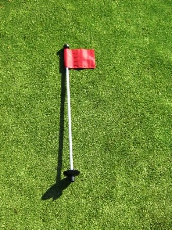 Golf - Putting Green - (1) 30'' Practice Green Pin Marker w/ Easy Grab Knob and Ball Lifter Disk + (1) Solid RED Colored Jr Flag Included by ShopTJB