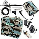 WST Blue Camouflage 0.3mm Adjustable Airbrush Kit with Mini Air Compressor for Temporary Tattoo Hobby