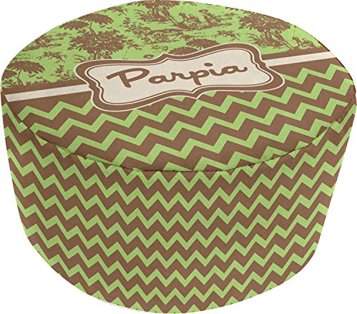 (YouCustomizeIt Green & Brown Toile & Chevron Round Pouf Ottoman (Personalized))