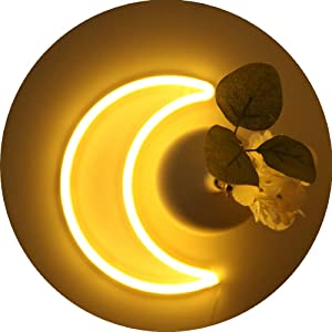 LED Warm White Moon Neon Light, Cute Neon Moon Sign, Room Wall Decor Battery or USB Powered Art Decorative Moon Christmas Lamp Night Lights Indoor for Bedroom,Office,Girl's Dorm,Gift,Party,Holiday