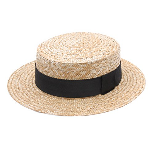 Classic Italy Canotier Pork Pie Boater Straw Hat Size 61 cm Natural