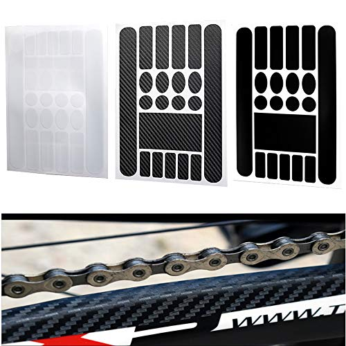 Windfally Bicycle Decal Chainstay Stickers,Chainstay Frame Protector for Bicycle MTB BMX Mountain Bike Chain Protective Folding Bicycle Frame Tape Guard-Carbon Black ()