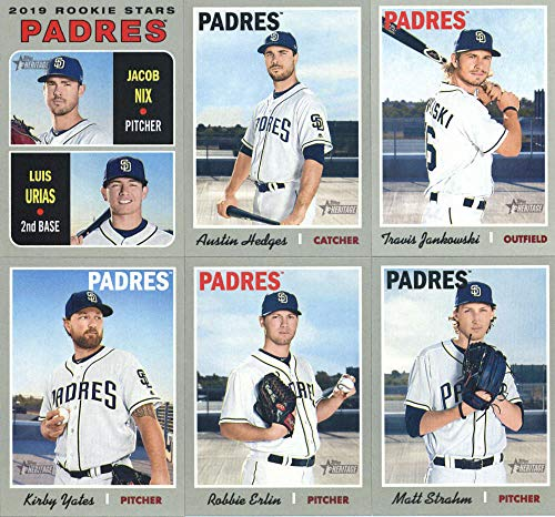 (2019 Topps Heritage Baseball San Diego Padres Team Set of 11 Cards: Joey Lucchesi(#44), Clayton Richard(#79), Hunter Renfroe(#130), Craig Stammen(#151), Manny Margot(#179), Travis Jankowski(#234), Jacob Nix/Luis Urias(#262), Austin Hedges(#284), Matt Strahm(#314), Robbie Erlin(#329), Kirby Yates(#345))
