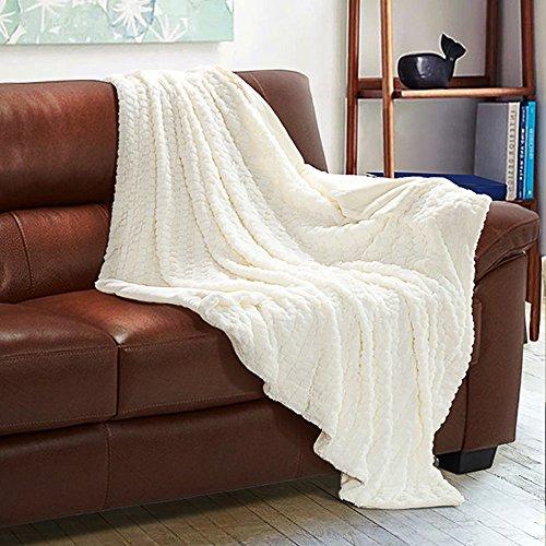Faux Fur Fleece Throw Blanket 60x80 Ivory Rustic Home Decor