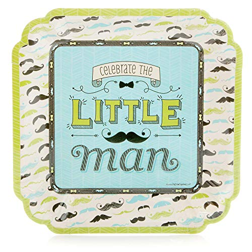 Big Dot of Happiness Dashing Little Man Mustache Party - Baby Shower or Birthday Party Dinner Plate (8 Count)