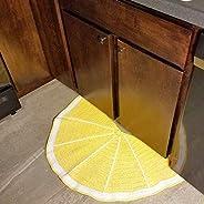 Lemon Crocheted Half-Circle Rug