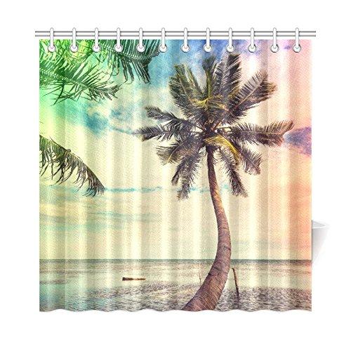 InterestPrint Serenity Beach Sunset Palm Tree Costal Custom Shower Curtain 72 X 72 Inches Polyester Fabric Bathroom Sets Home Decor