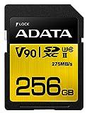 ADATA ASDX256GUII3CL10-C Premier ONE SDXC UHS-II U3 Class10 V90 3D NAND Extreme 4K Ultra HD 290MB/s SD Card, 256 GB