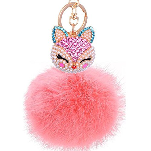 DongCrystal Plush Ball with Artificial Fox Head Inlay Bling Pearl Rhinestone Key Chain for Womens Bag or Cellphone or Car Pendant - Pink