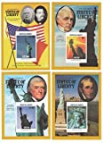 Set of four imperforate Statue of Liberty stamp sheets of American US presidents issued 1986 featuring Thomas Jefferson / Nevis Island / Imperforated / MNH