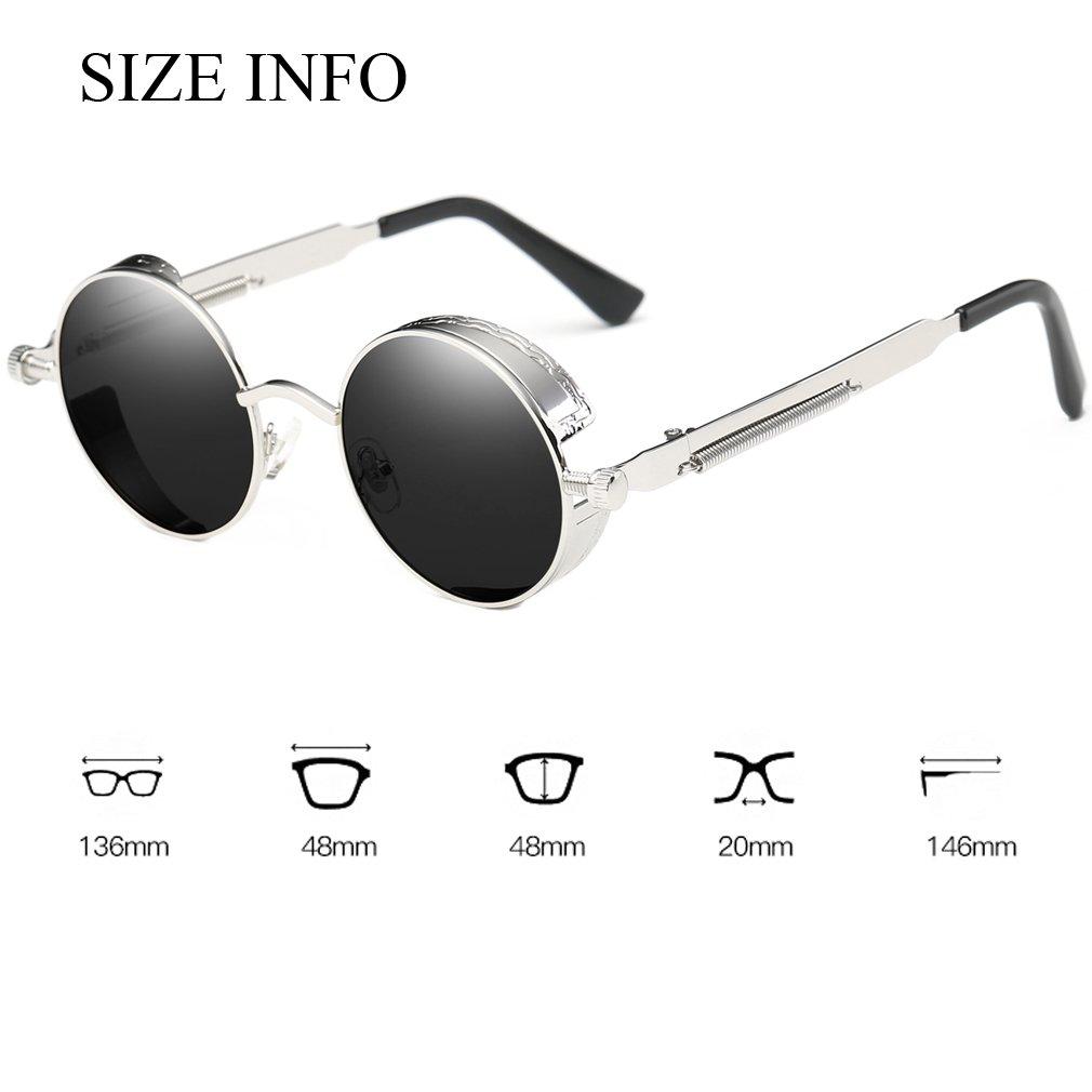 4a3d615c9ab Dollger Black Steampunk Sunglasses Mens Vintage Small Circle Glasses    Sunglasses   Clothing
